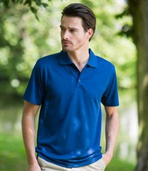 H473 Henbury Cooltouch® Textured Stripe Polo Shirt